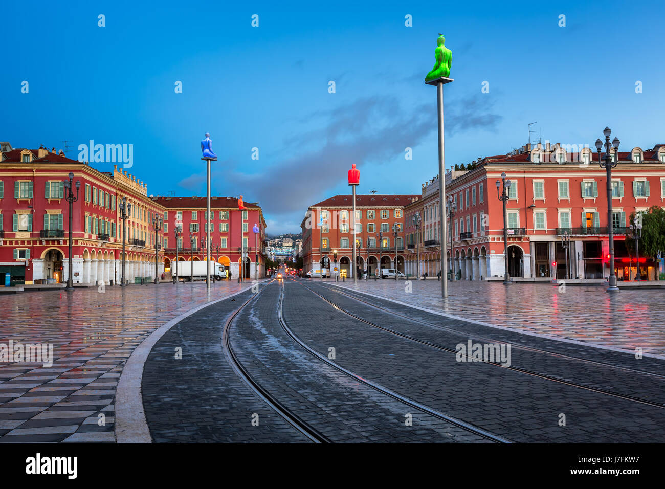 Massena Place in the Morning, Nice, France Stock Photo