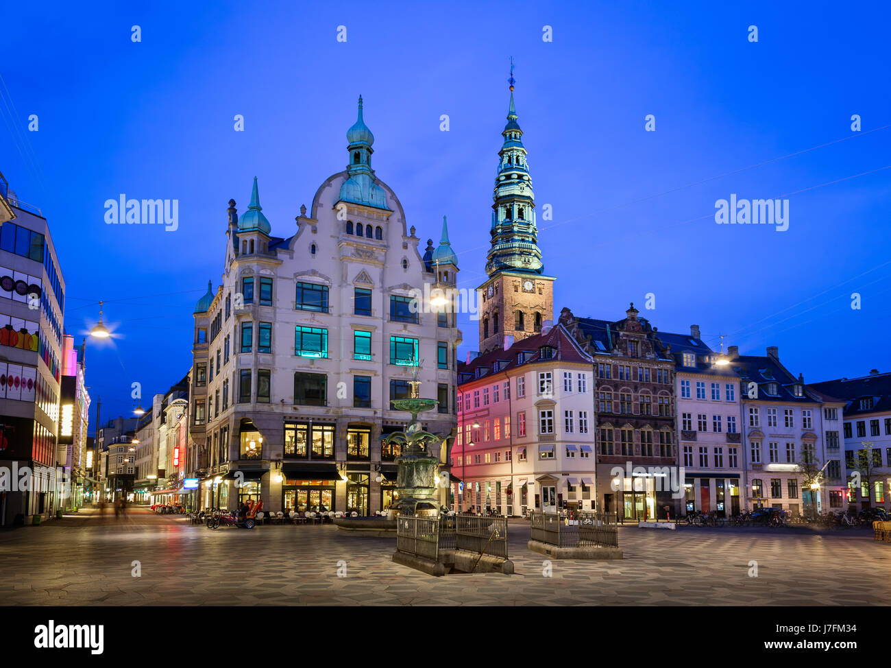 Amagertorv Square and Stork Fountain in the Old Town of Copenhagen, Denmark - Stock Image