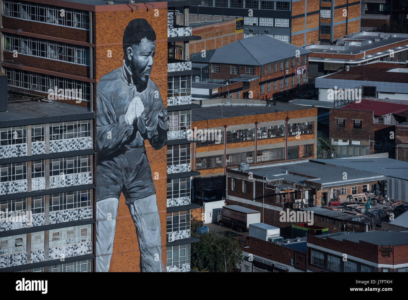 A portrait of former South African president Nelson Mandela as part of an inner city renewal project in Maboneng, - Stock Image