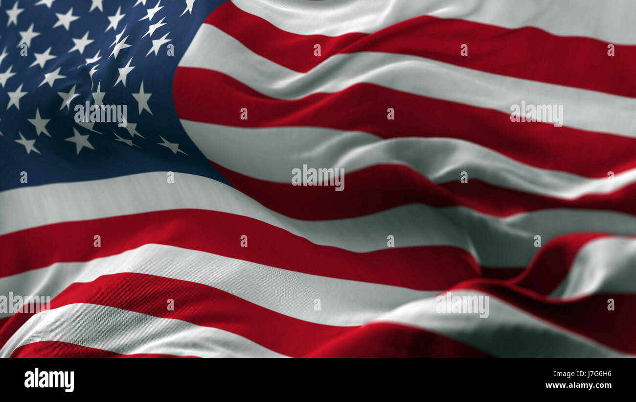 USA Flag Blowing on the Wind - Stock Image