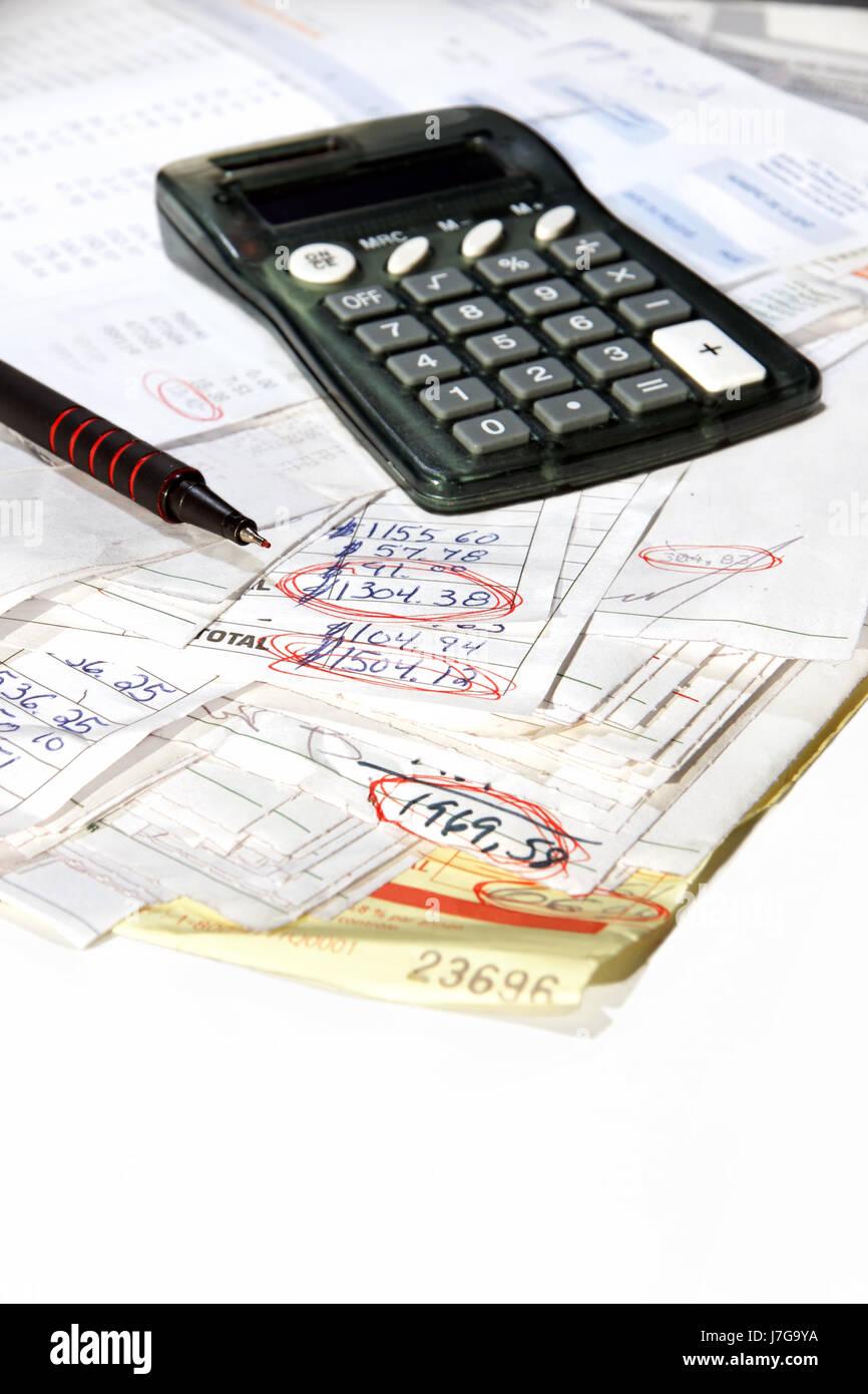 calculator bankrupt finance account debt money bank lending institution pay - Stock Image