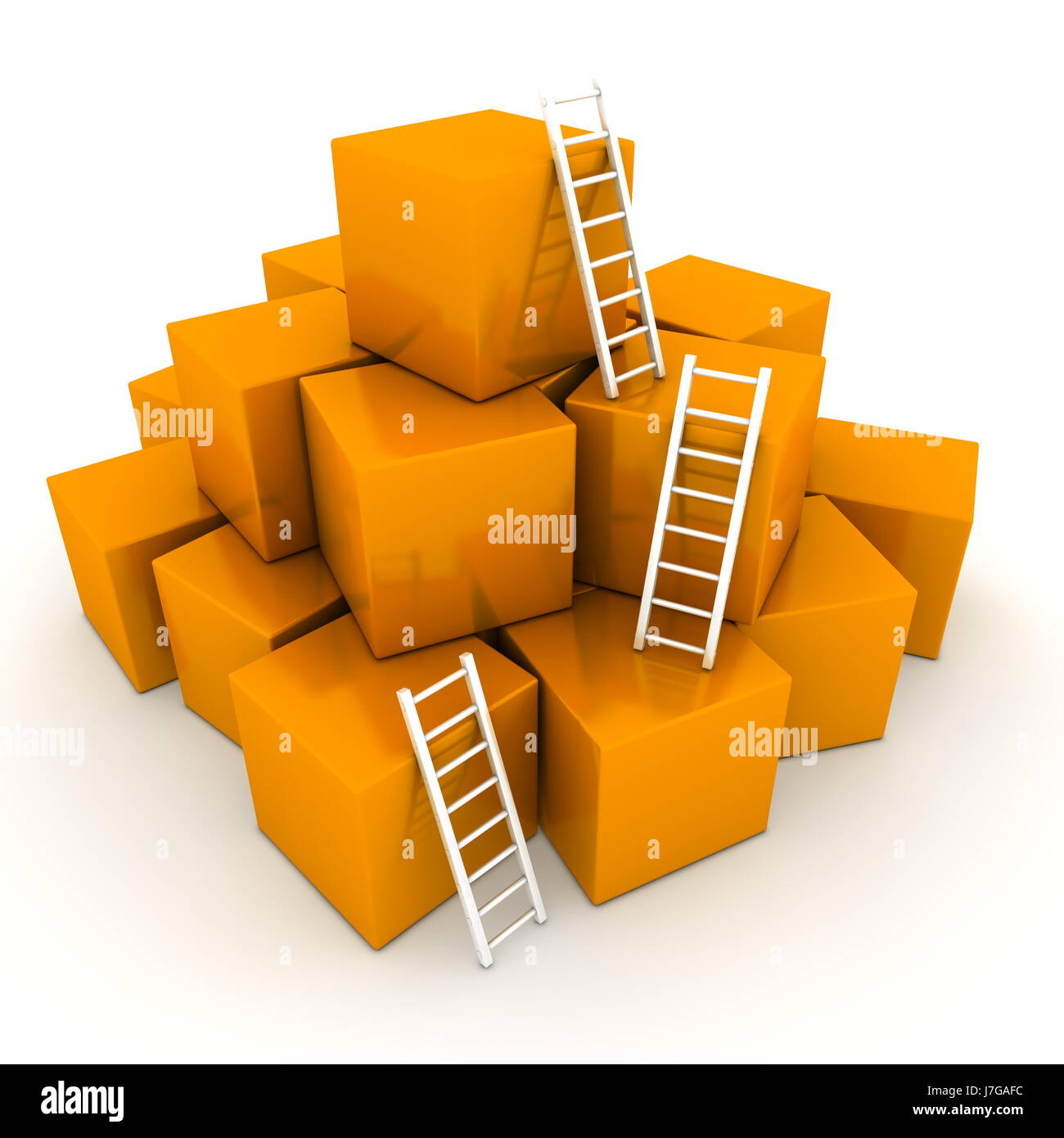 up on box boxes heap pile white cubes ladders orange stairs object isolated - Stock Image