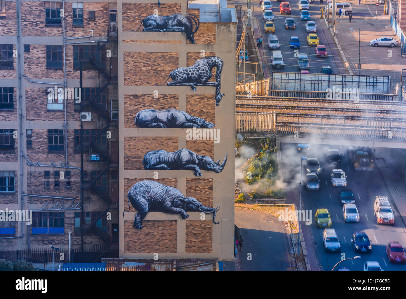 Public art as part of a Johannesburg, South Africa, inner city renewal project known as Maboneng - Stock Image