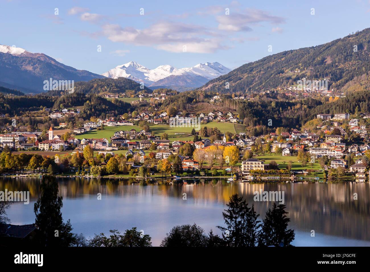 Seeboden at Lake Millstatt, autumn, Seeboden, Carinthia, Austria - Stock Image