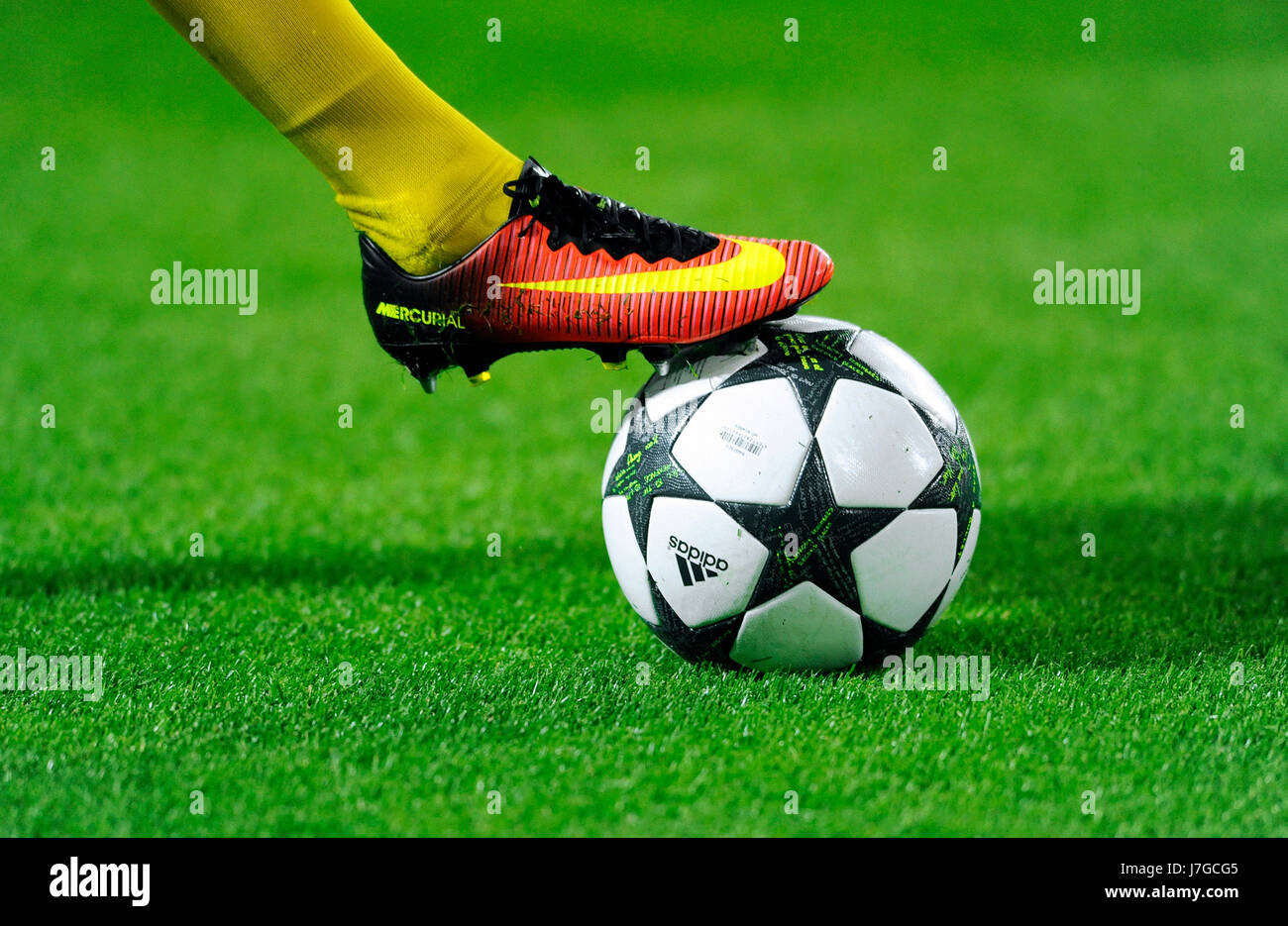 7a137359b46 Nike football shoe on Adidas Champions League Ball