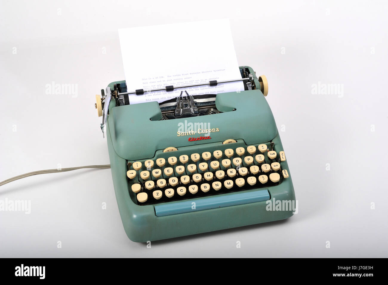 1950's Smith Corona electric typewriter.  This model was the first electric typewriter although it still had - Stock Image