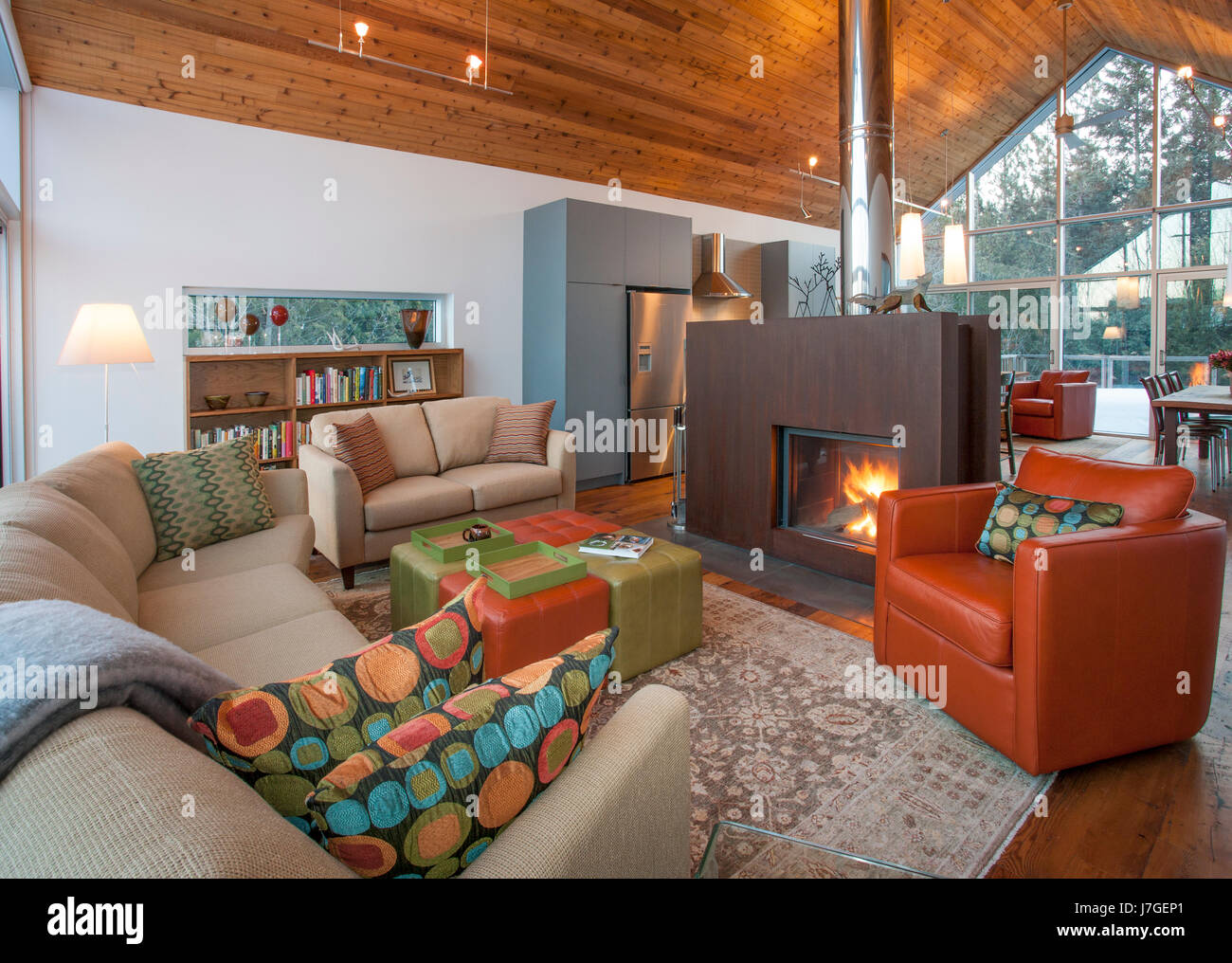 North America, Canada, Ontario, living room with steel fireplace - Stock Image