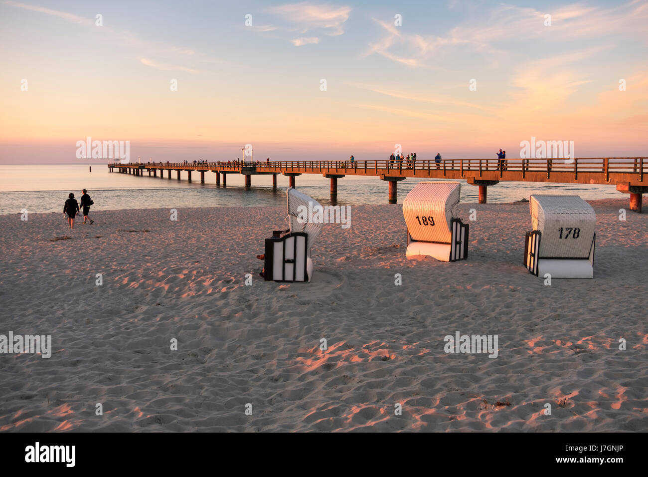 Beach chairs on the beach of Prerow, Baltic Sea, Darss, Mecklenburg-Vorpommern, Germany - Stock Image