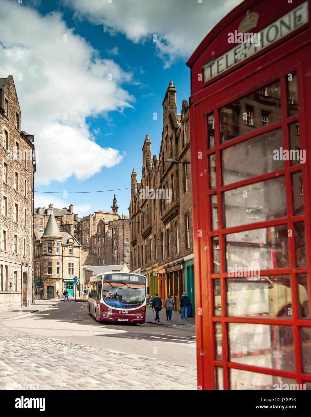 A bus on old street  Candlemaker Row, Edinburgh Scotland Stock Photo