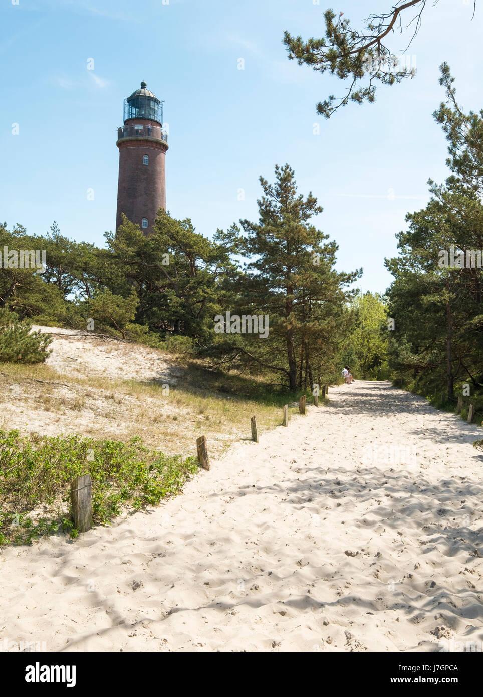 Lighthouse in Darsser Ort, Prerow, Darss, Mecklenburg-Vorpommern, Germany - Stock Image