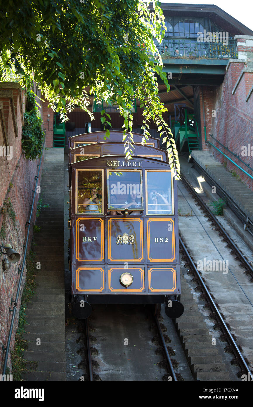 BUDAPEST, HUNGARY - AUGUST 2: Funicular tram train going to Buda Castle, Budapest, on AUGUST 2, 2013. Stock Photo