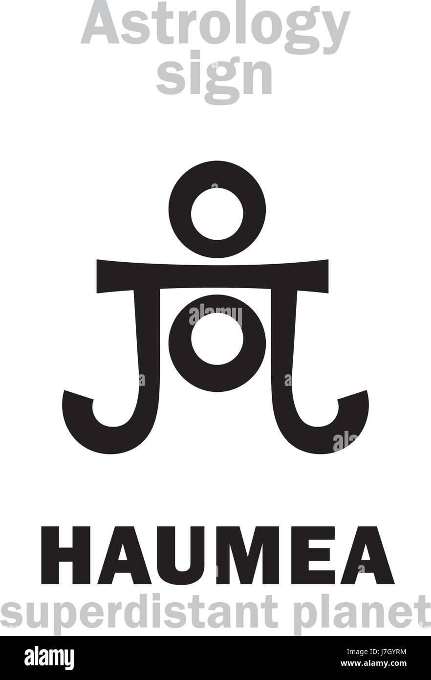 Astrology Alphabet: HAUMEA, superdistant dwarf planet. Hieroglyphics character sign (single symbol). Stock Vector