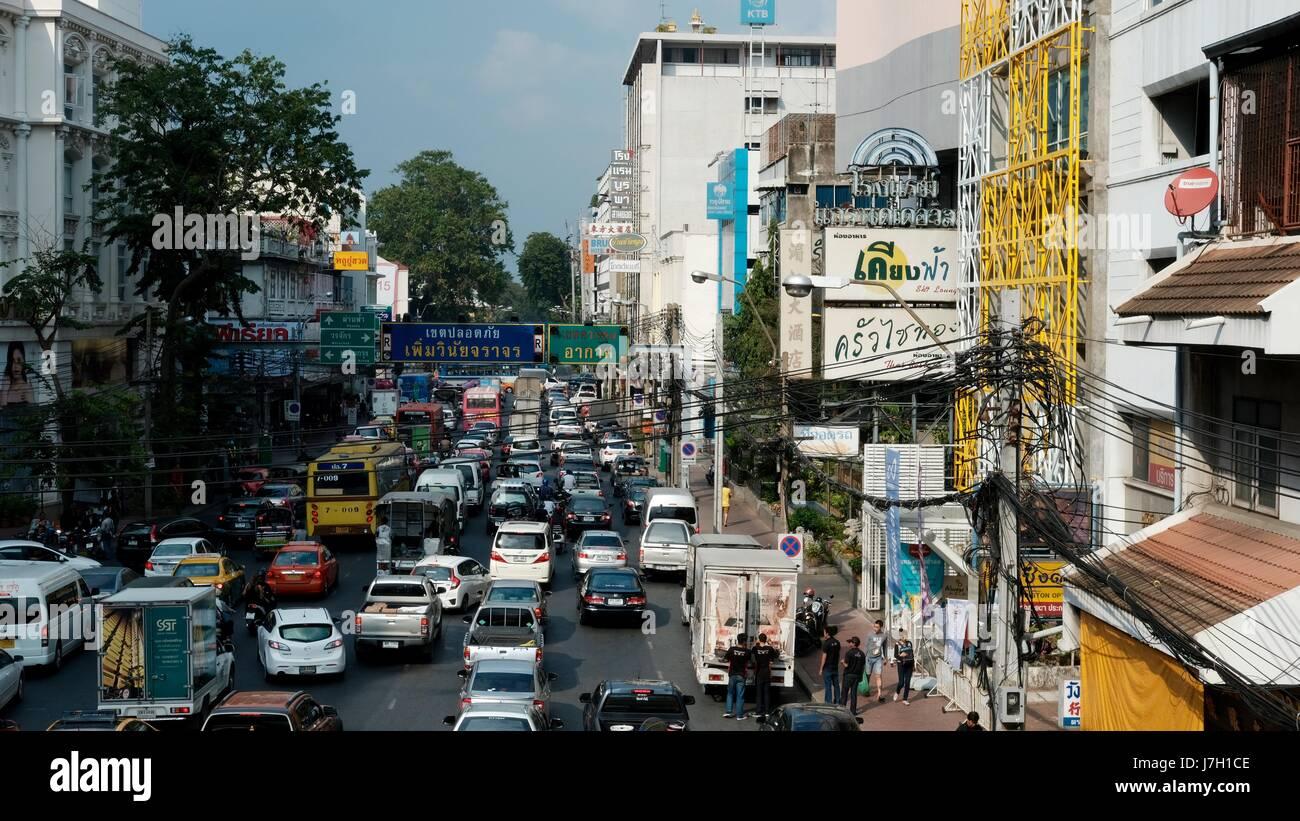 View from the Steel Bridge Mega Plaza Saphan Lek on Somdet Prachao Taksin Road Bangkok Thailand - Stock Image