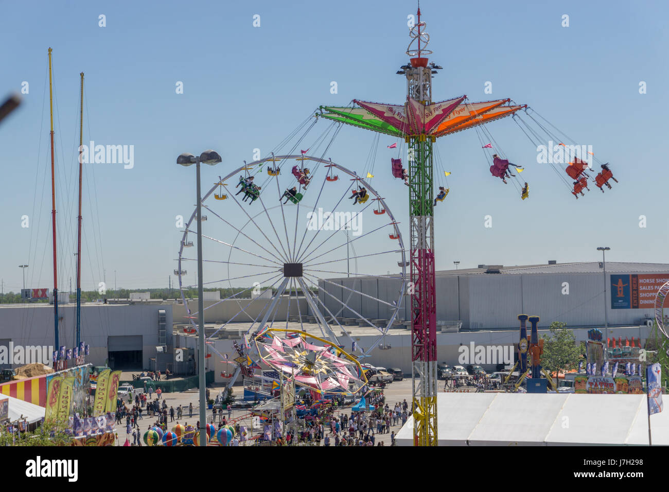 Carnival rides at the Houston Livestock Show and Rodeo Stock Photo