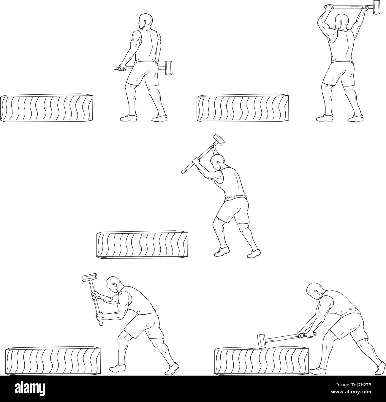 Collection set of illustrations of an athlete working out hitting tire with hammer viewed from the side done in - Stock Vector