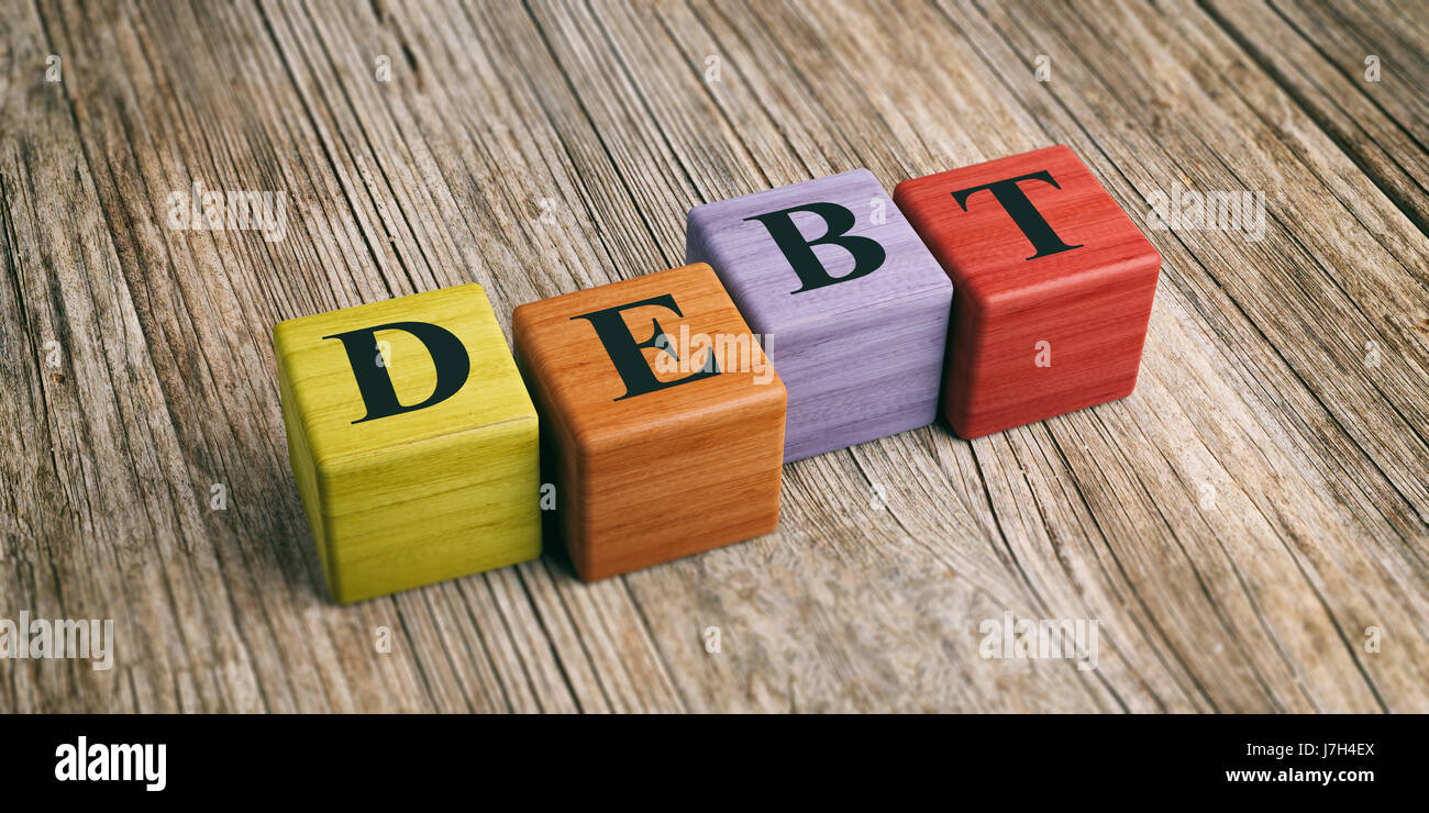 Word Debt on wooden blocks and wooden background. 3d illustration - Stock Image