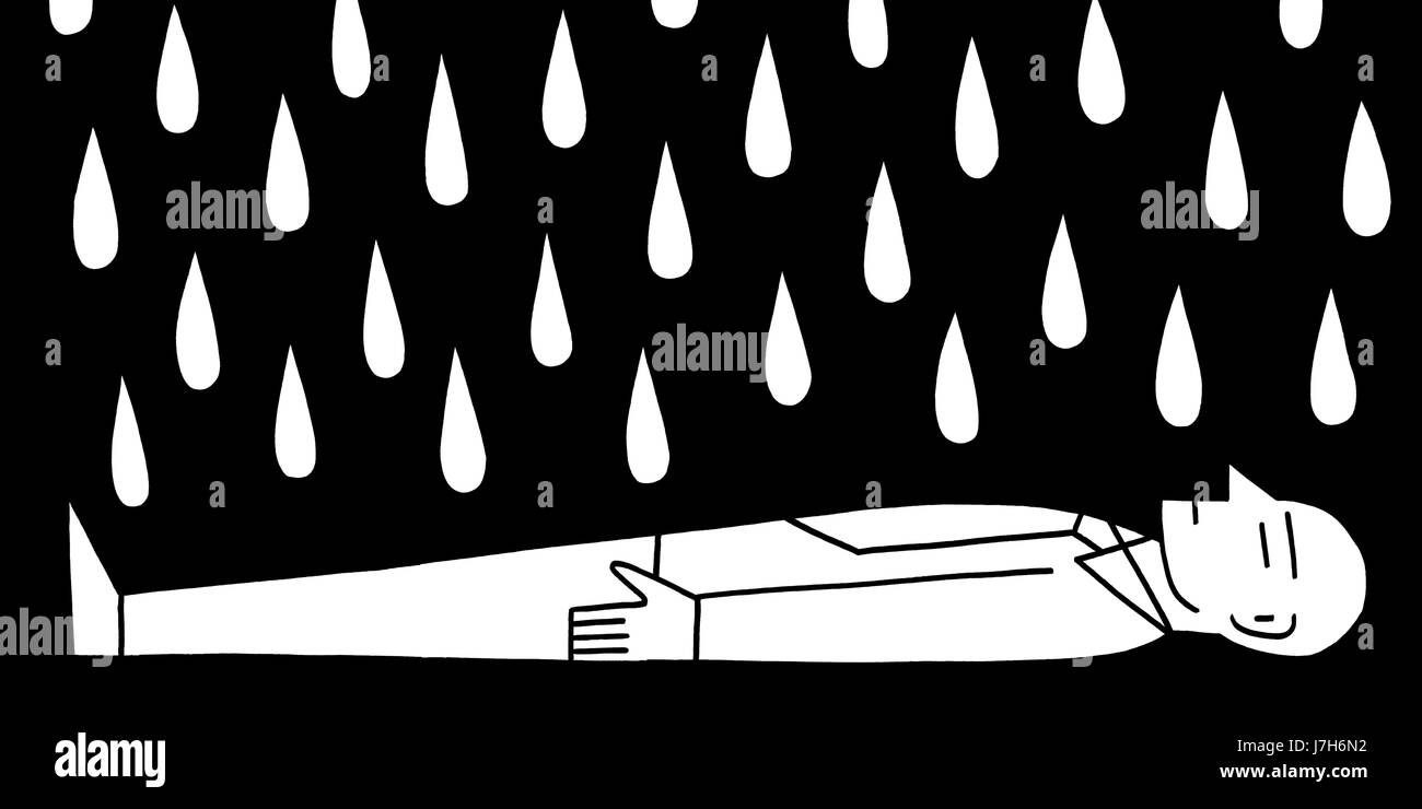 When it pours. A man wearing a shirt and tie lays on his back while being rained on. A hand drawn black and white - Stock Image