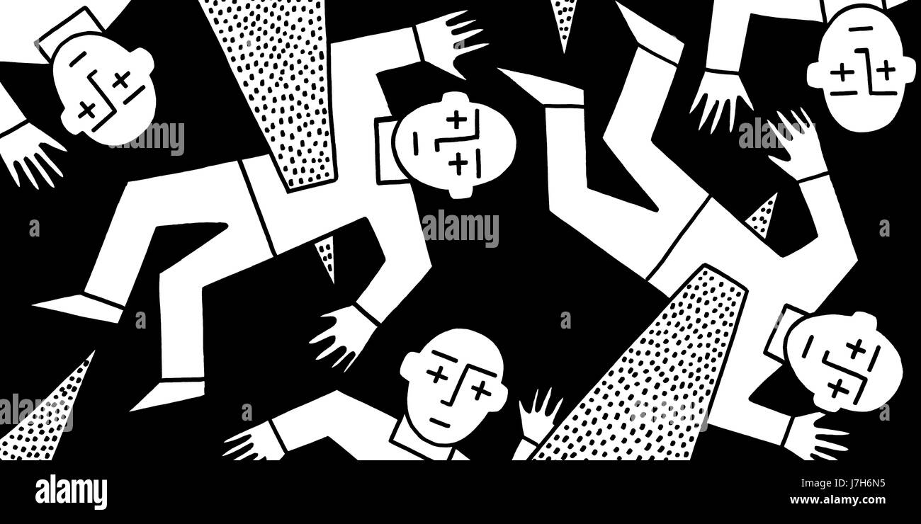 Ouch. A group of little men being impaled on spikes. A hand drawn black and white illustration. - Stock Image