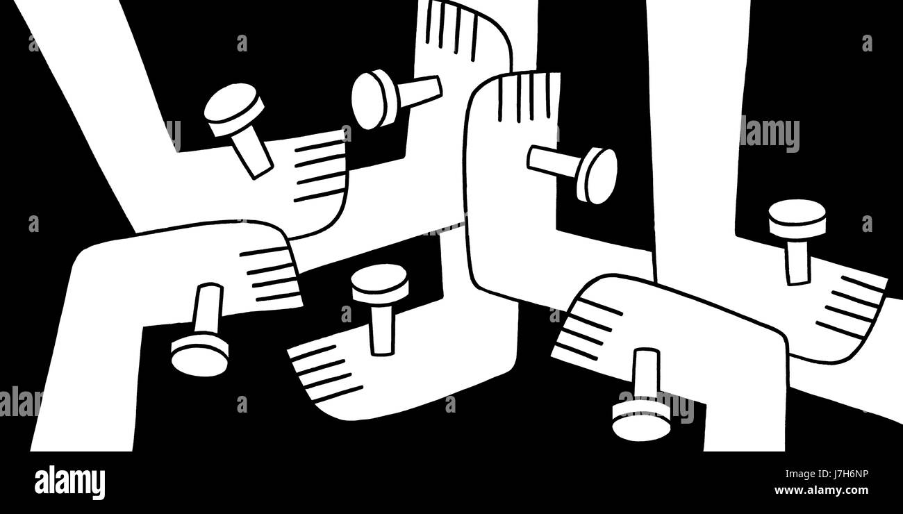 We are one. A number of feet joined together with nails. A hand drawn black and white illustration. - Stock Image
