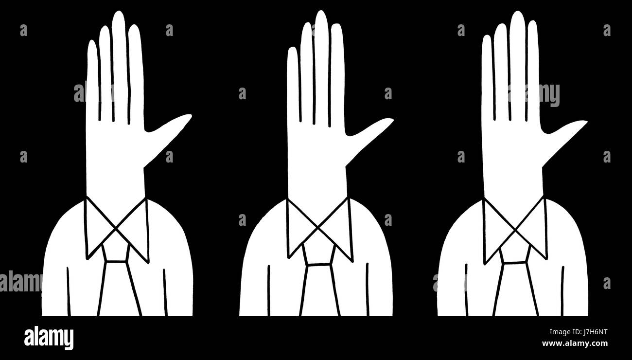 Hands up. Three characters wearing shirts and ties have hands for heads.  A hand drawn black and white illustration. Stock Photo
