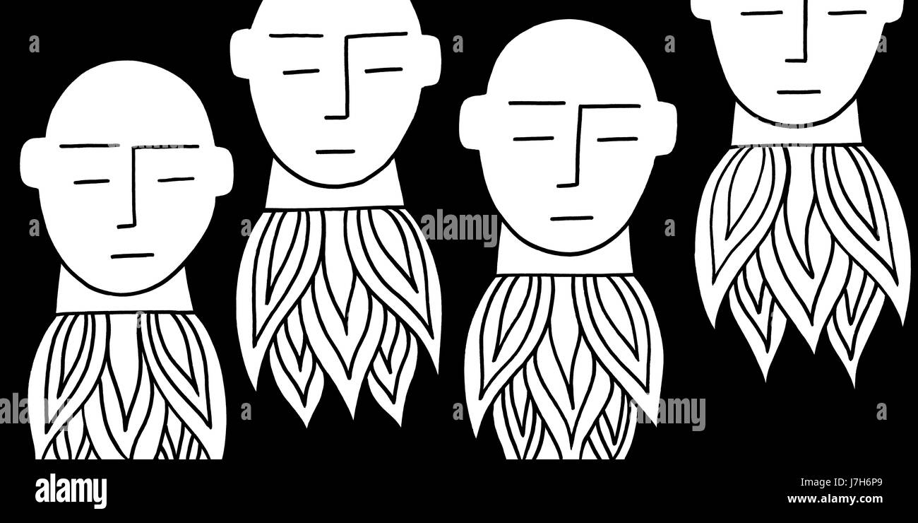 Up up and away. Four heads go rocketing into the sky. A hand drawn black and white illustration. - Stock Image