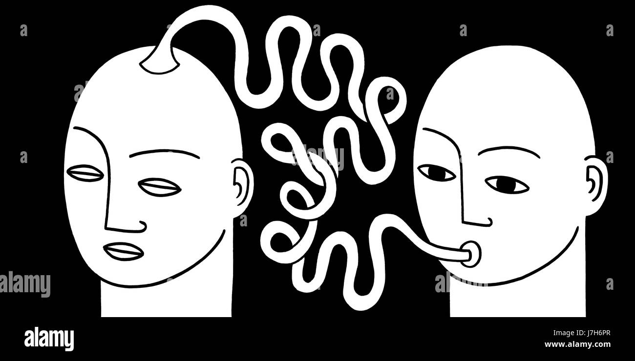 Out of my mind. One man sucks on a long winding straw connected to someones head. A hand drawn black and white illustration. Stock Photo
