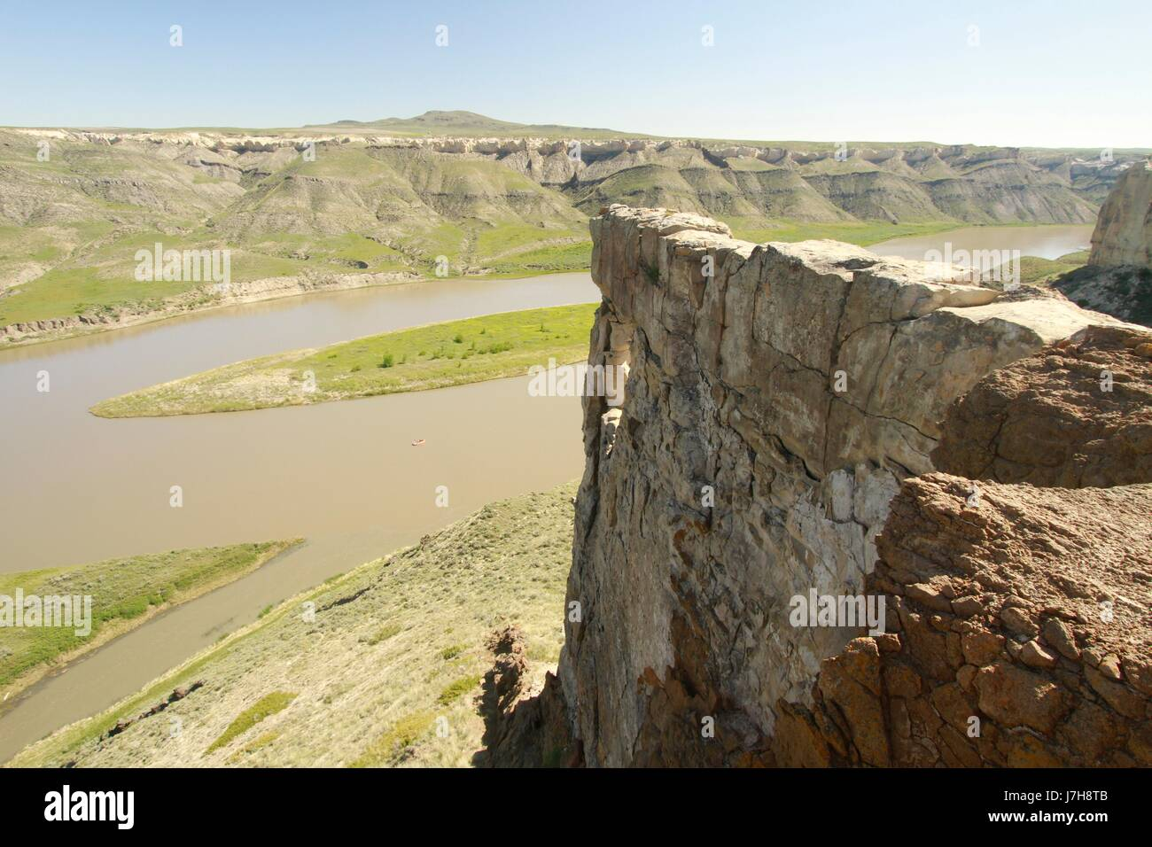 A peek at Hole in the Wall, Missouri River Breaks National Monument, Montana - Stock Image