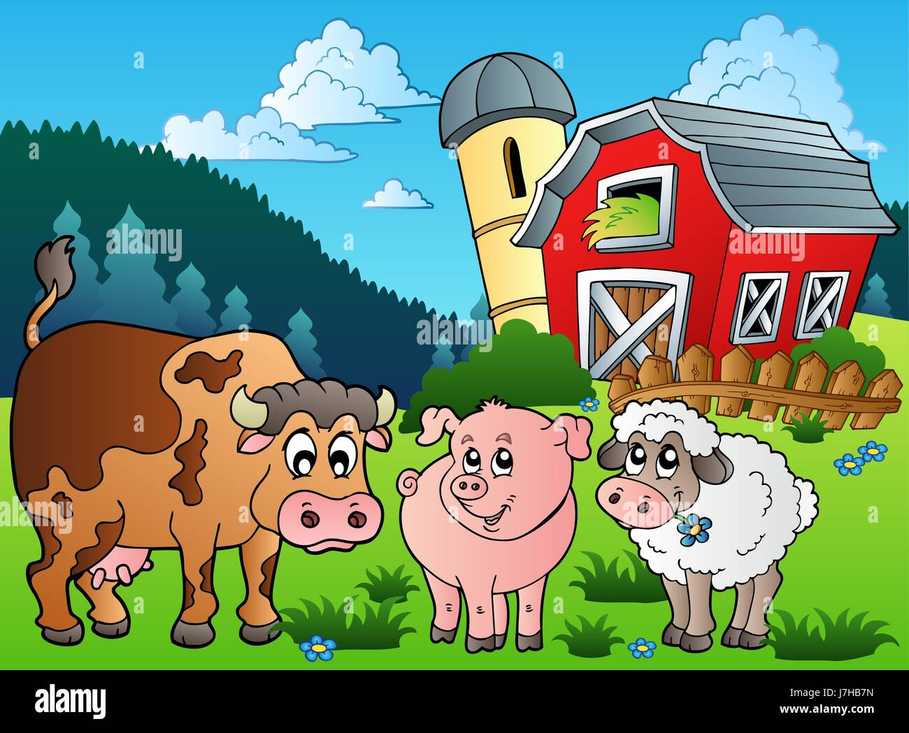Animal Mammal Fauna Sheep Cow Barn Pig House Building Tower Agricultural Art