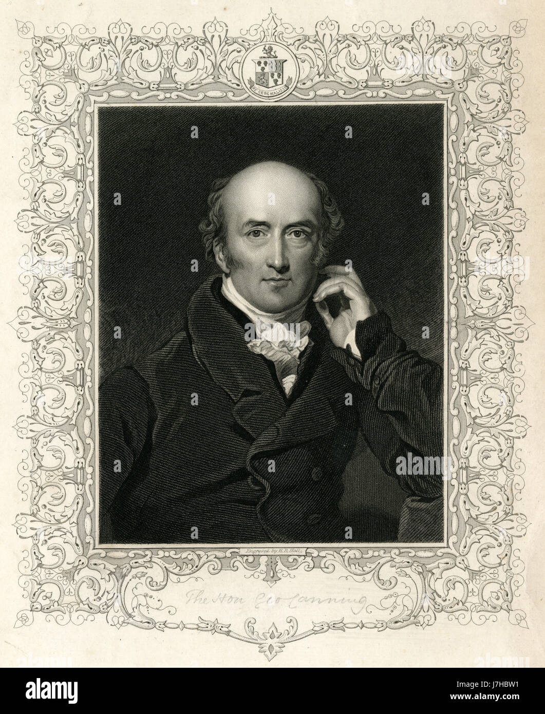 Antique 1836 engraving, George Canning. George Canning (1770-1827) was a British statesman and Tory politician who - Stock Image
