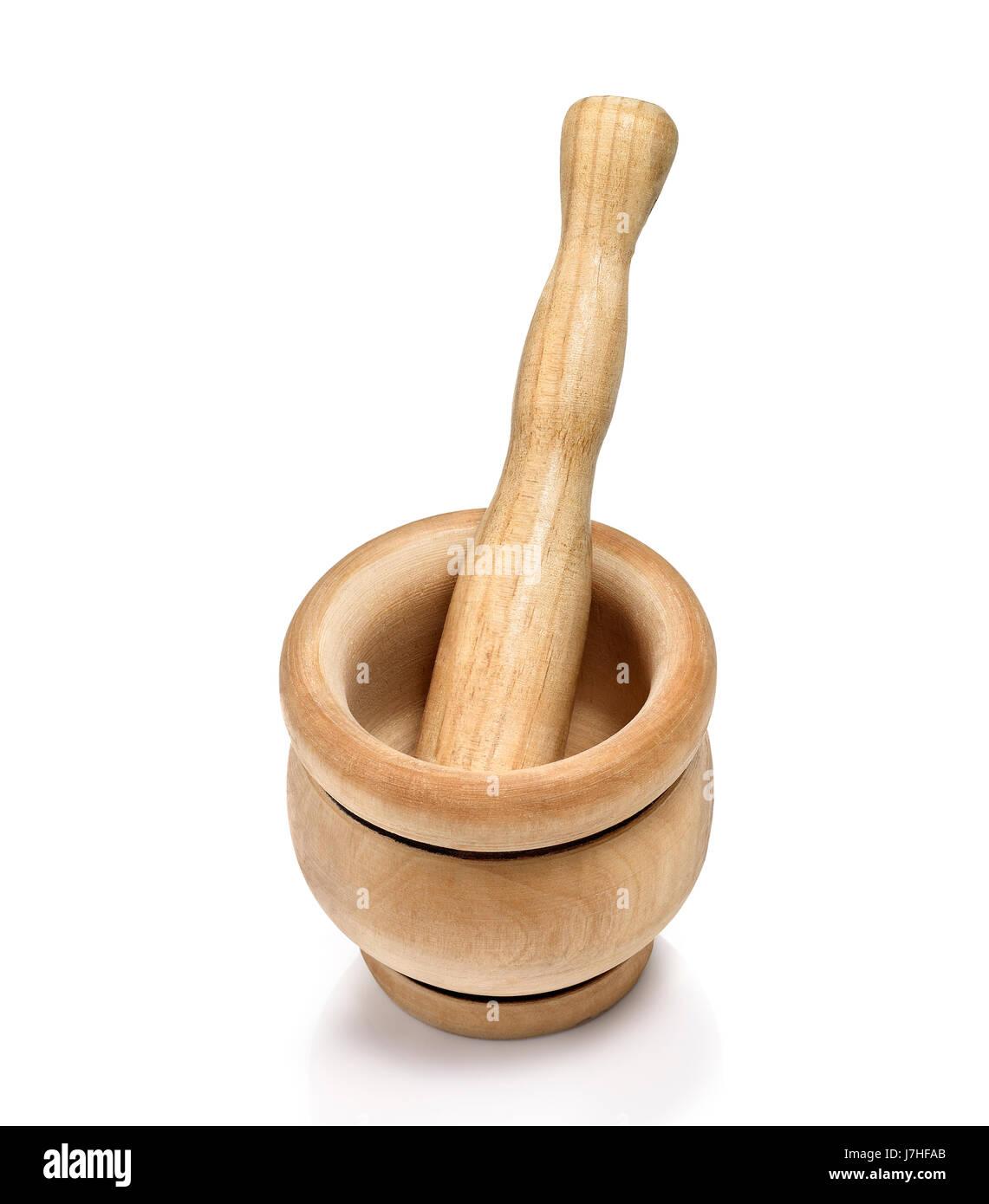 wood chemist mortar pestle grinder alchemy pharmacy drugstore bowl objects - Stock Image