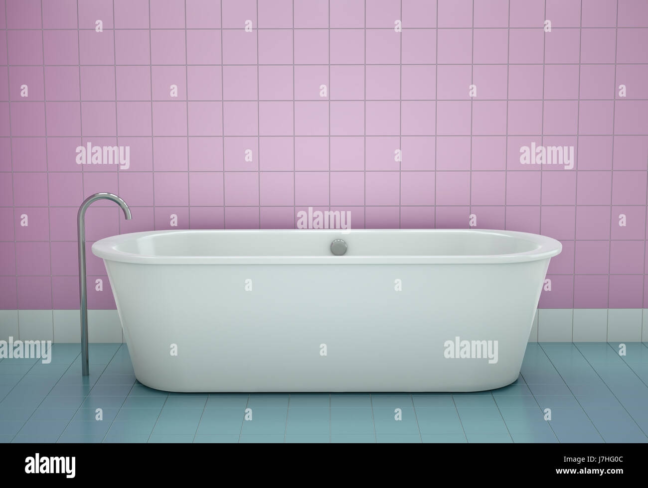 interior tiles bath tub tub bathtub bathroom pink front blue look ...