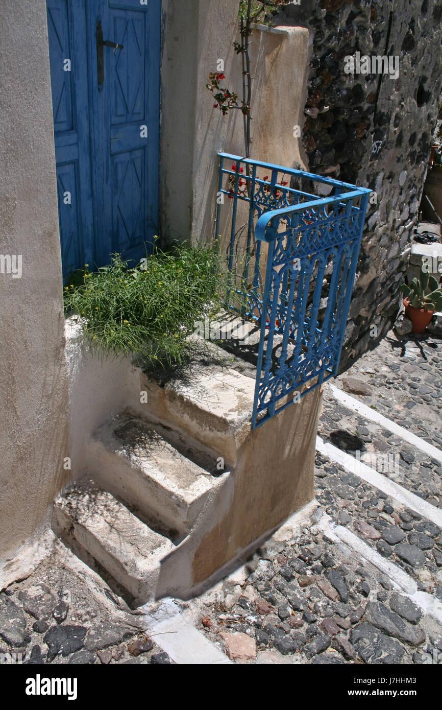 stairs house building greece water mediterranean salt water sea ocean vulcan - Stock Image