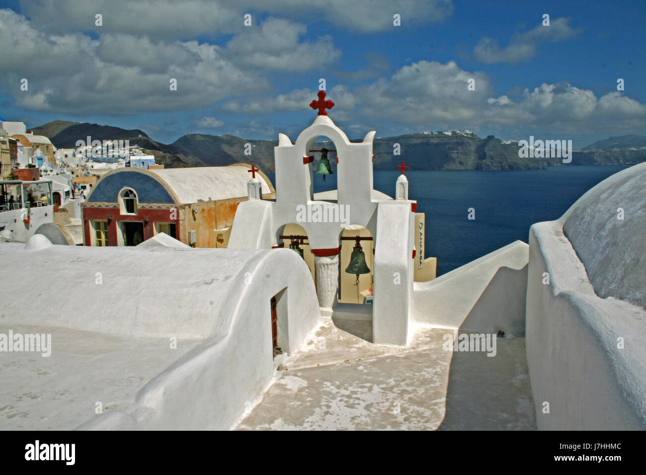 house building church greece water mediterranean salt water sea ocean vulcan - Stock Image