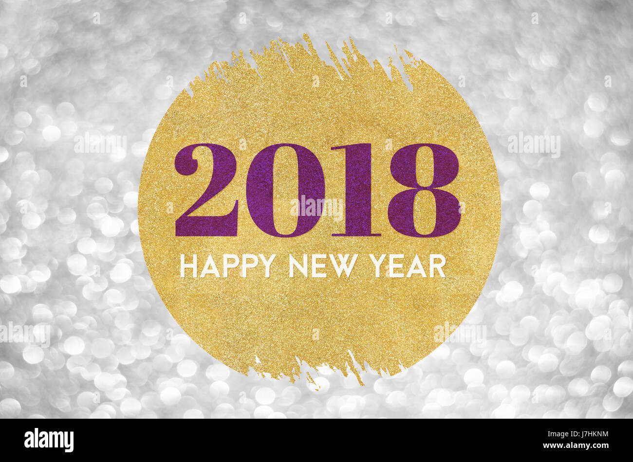 happy new year 2018 word on gold circle glitter on silver sparkling bokeh lights backgroundholiday greeting card