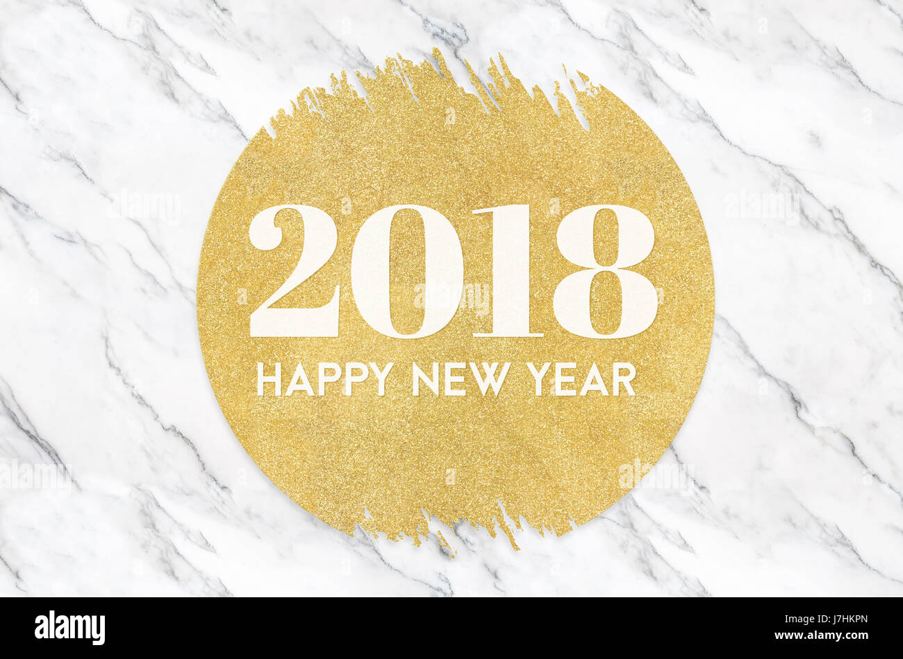 Happy new year 2018 number on gold circle glitter on white marble happy new year 2018 number on gold circle glitter on white marble backgroundholiday greeting card kristyandbryce Images