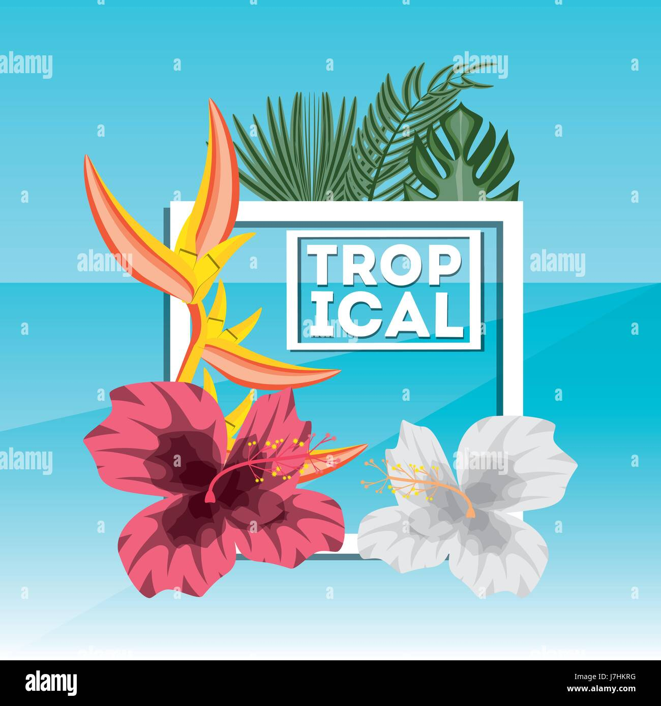 tropical concept with beautiful and colorful flowers Stock Vector