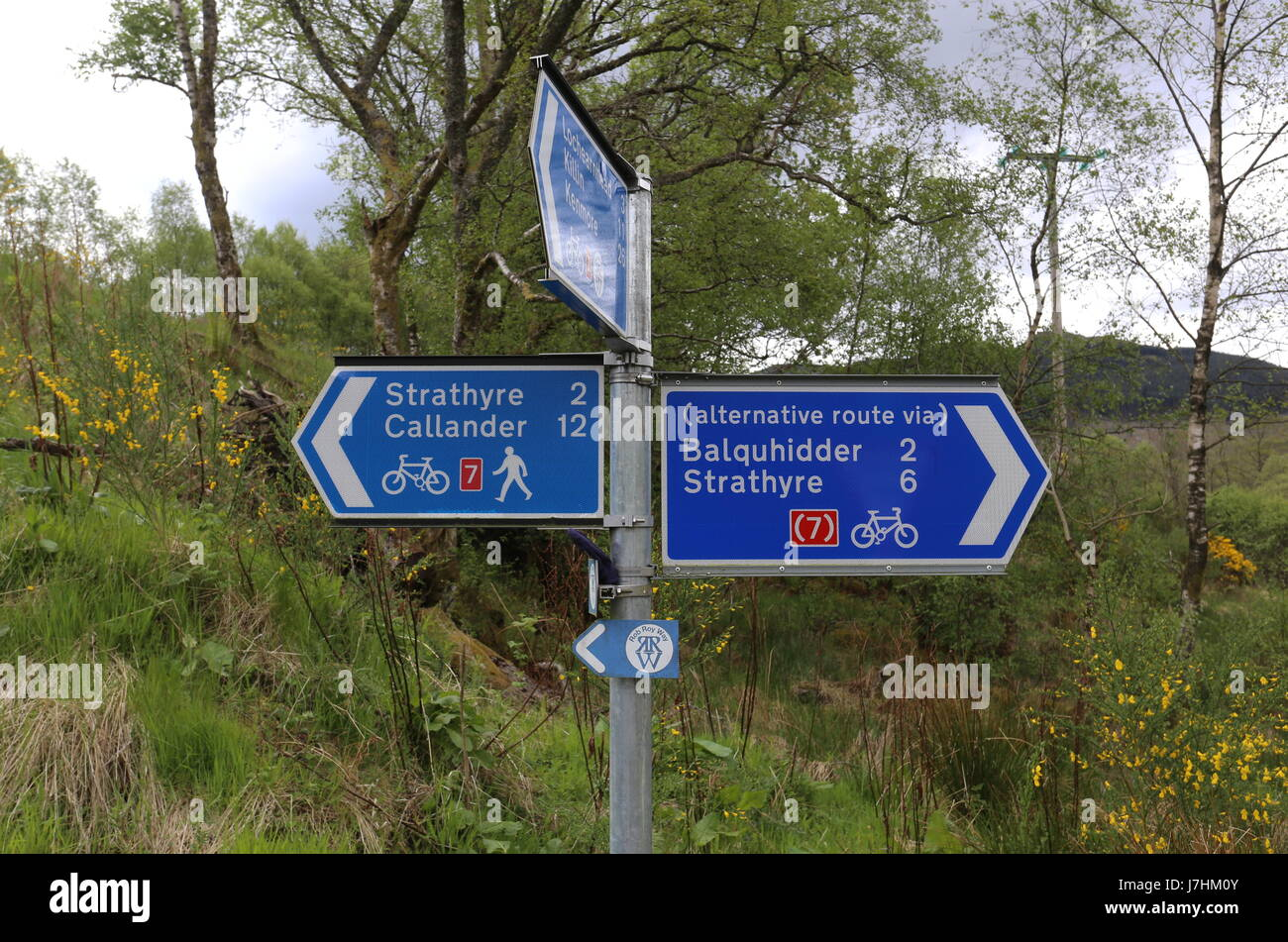 Sign on National Cycle Route 7 and Rob Roy Way near Balquhidder Scotland  May 2017 Stock Photo