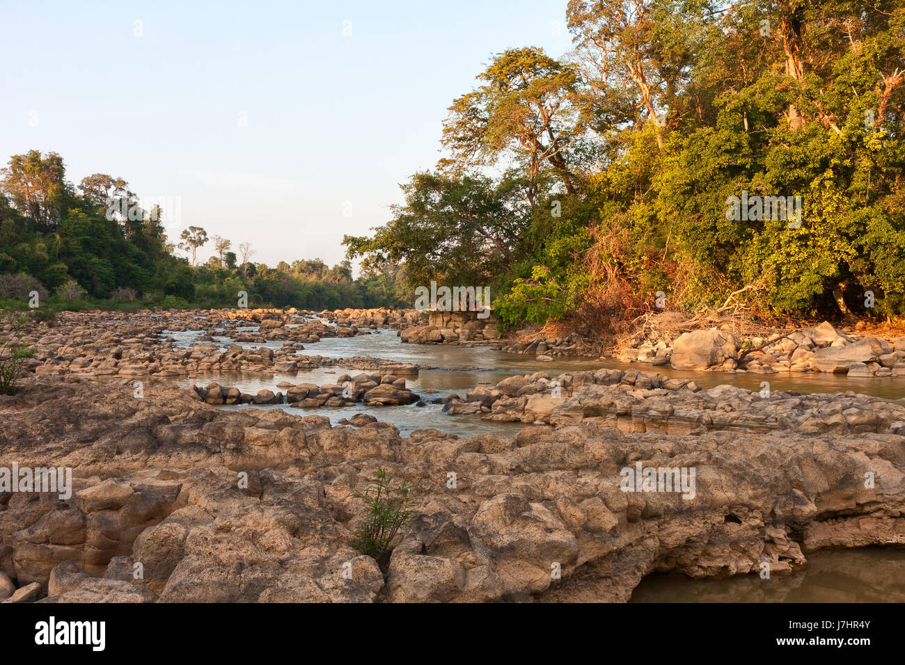 Ben Cu Rapids in Dong Nai River at sunset (dry season), Cat Tien National Park, Vietnam, Asia. - Stock Image