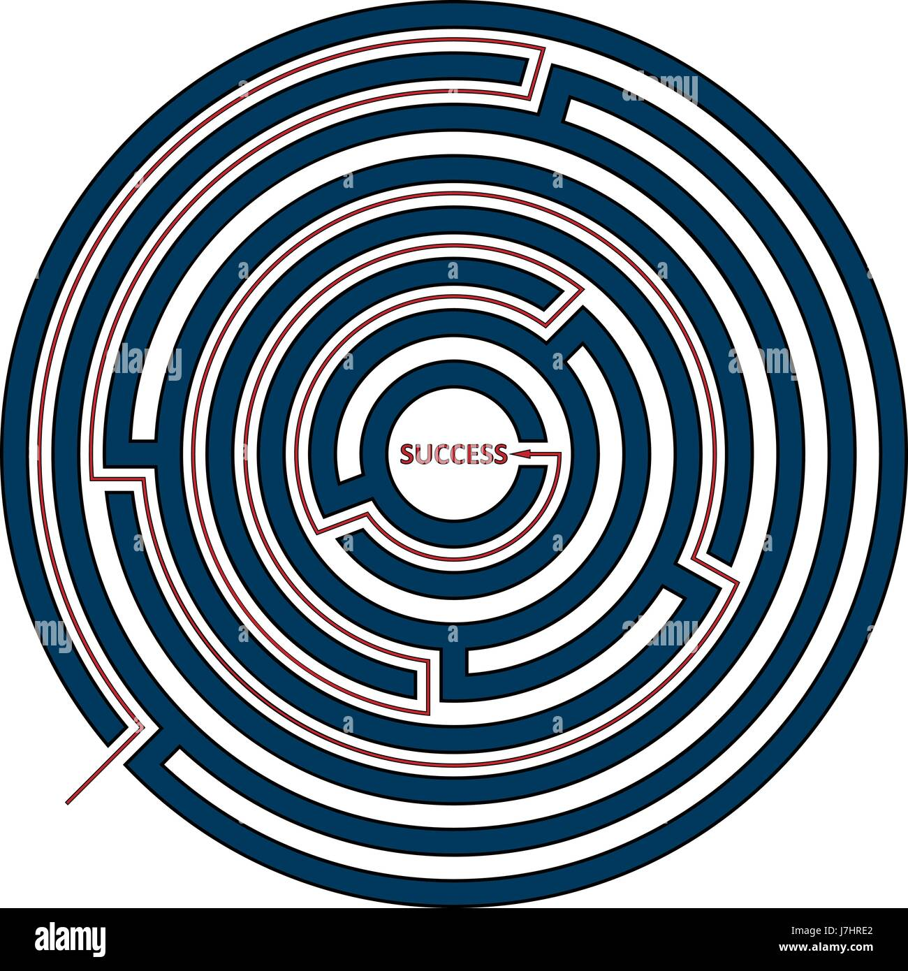 Vector illustration of round maze with the solution as a red line to success. Circle labyrinth isolated on white - Stock Image
