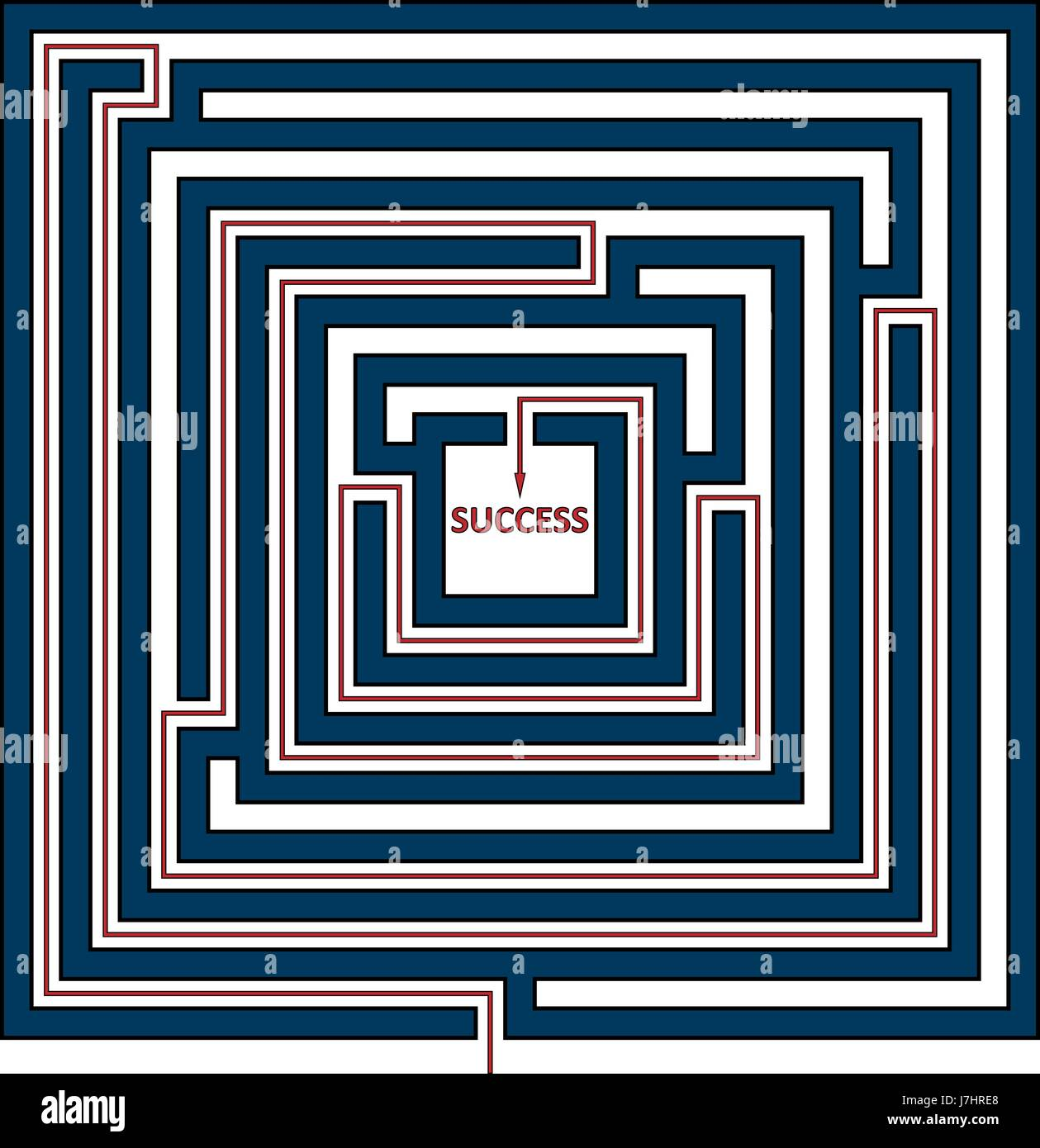 Vector illustration of square maze with the solution as a red line to success. Rectangle labyrinth isolated on white - Stock Image