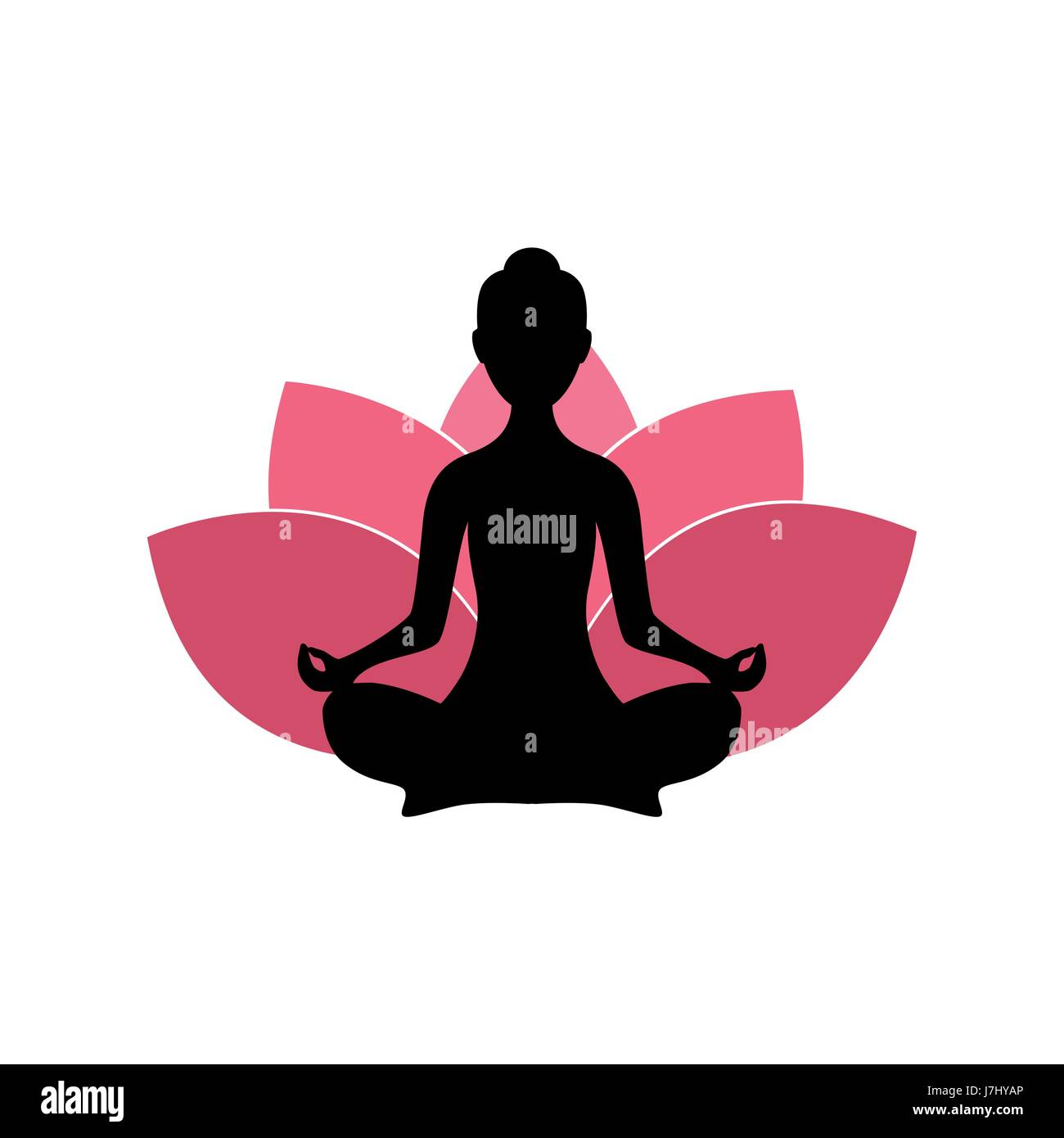 Yoga Woman Silhouette Pink Lotus Flower Logo Design Template Stock