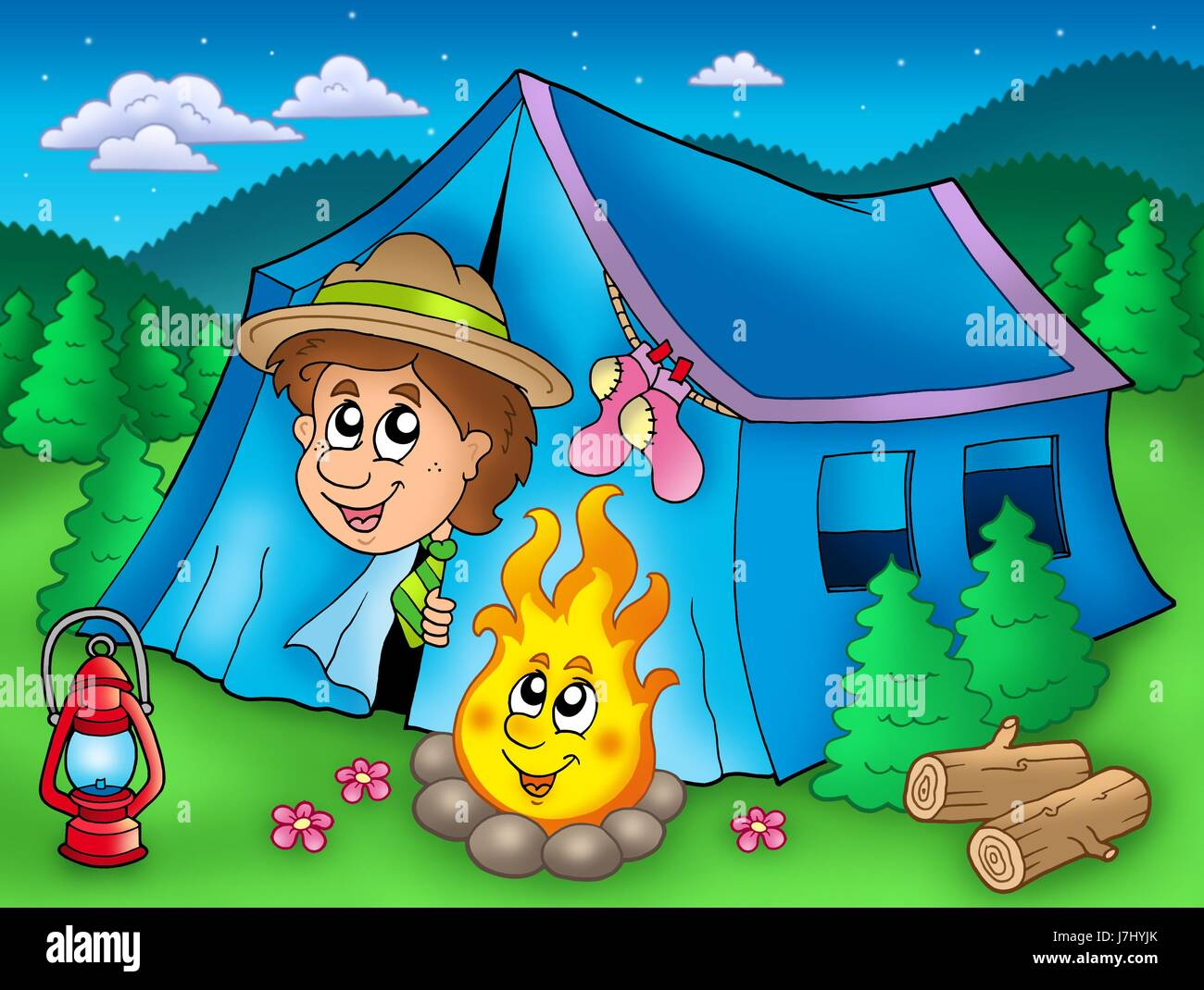 camping tent camp scout camp of tents scouts humans human beings people folk - Stock Image