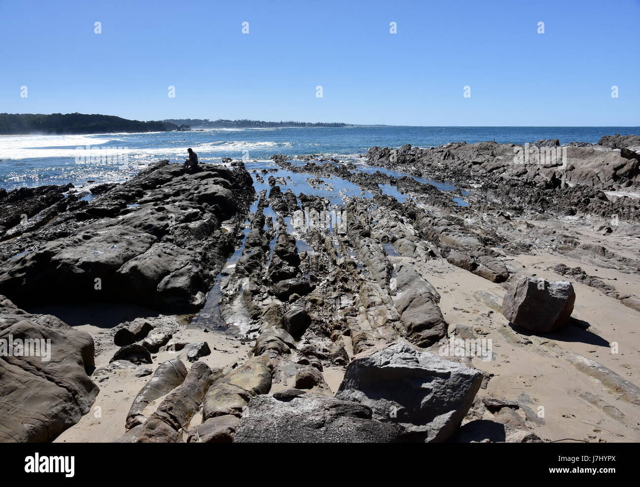 Rocks at Potato Point beach. Potato Point is a village in the Eurobodalla Shire lying on the south coast of NSW, - Stock Image