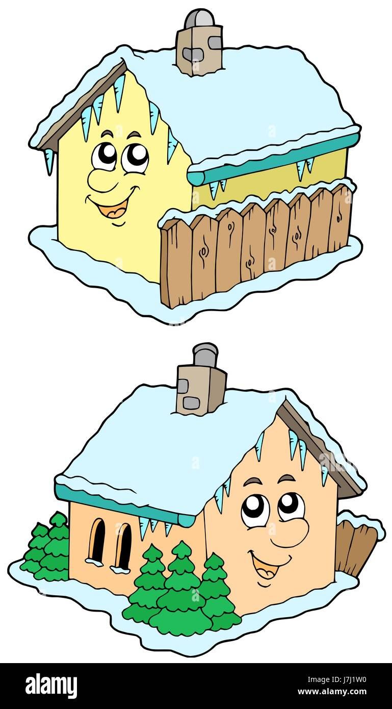 house building buildings houses small tiny little short brick two house - Stock Image