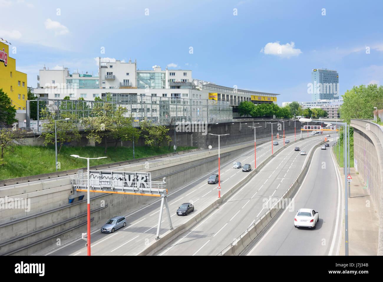 freeway Südosttangente A23 at Monte Laa, Wien, Vienna, 10. Favoriten, Wien, Austria - Stock Image
