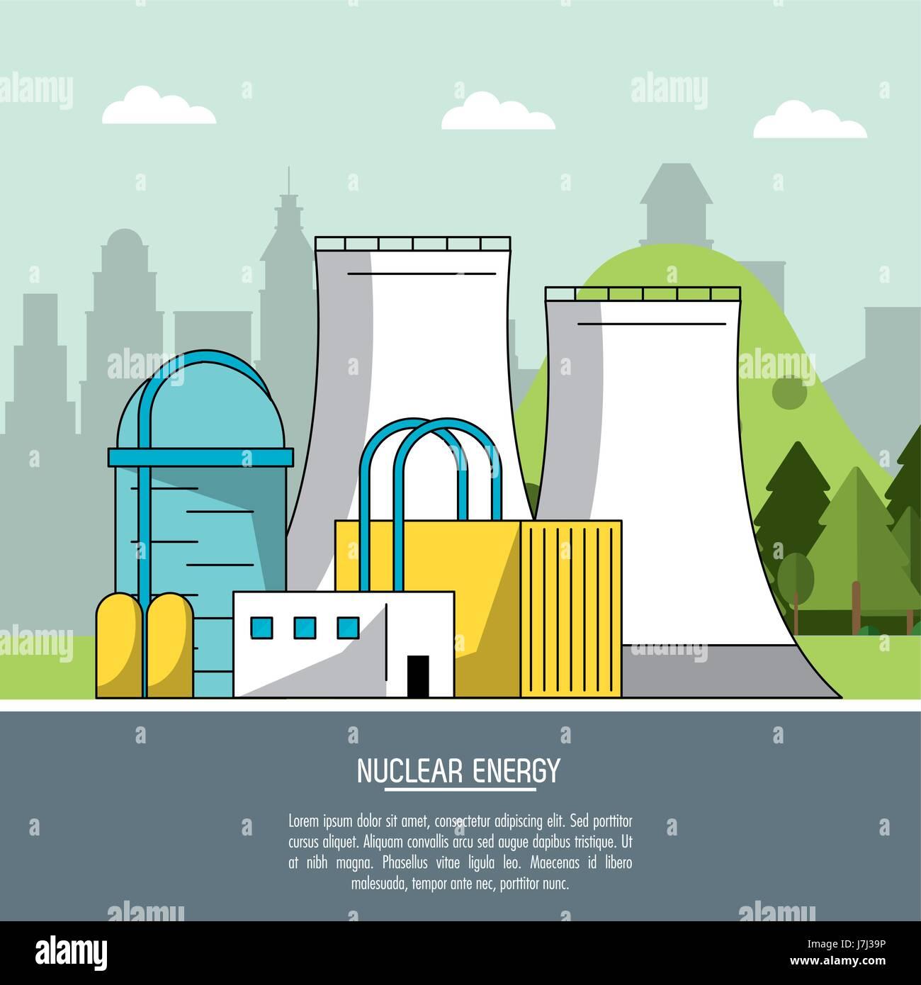 color landscape background nuclear energy production plant Stock Vector