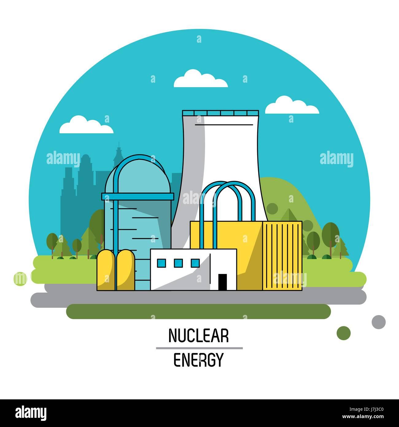 color landscape image nuclear energy production plant Stock Vector