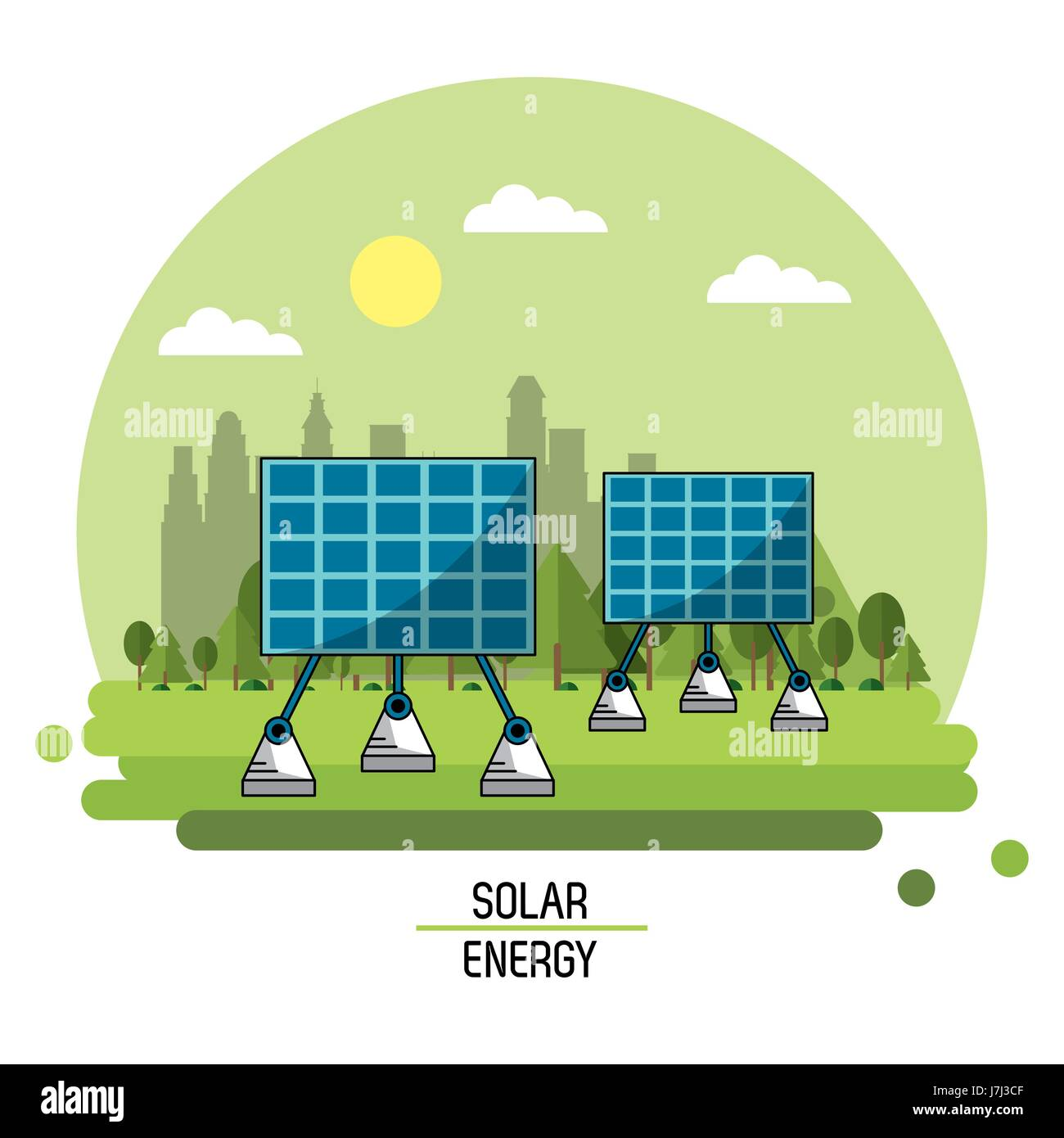color landscape image solar energy panels - Stock Image