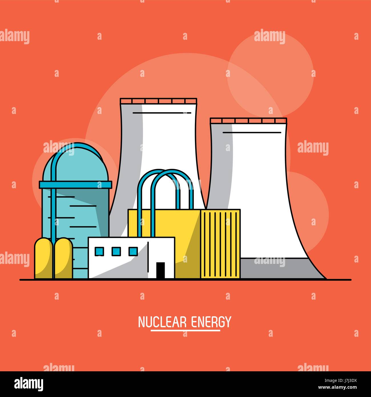 orange color background with bubbles of nuclear energy production plant Stock Vector