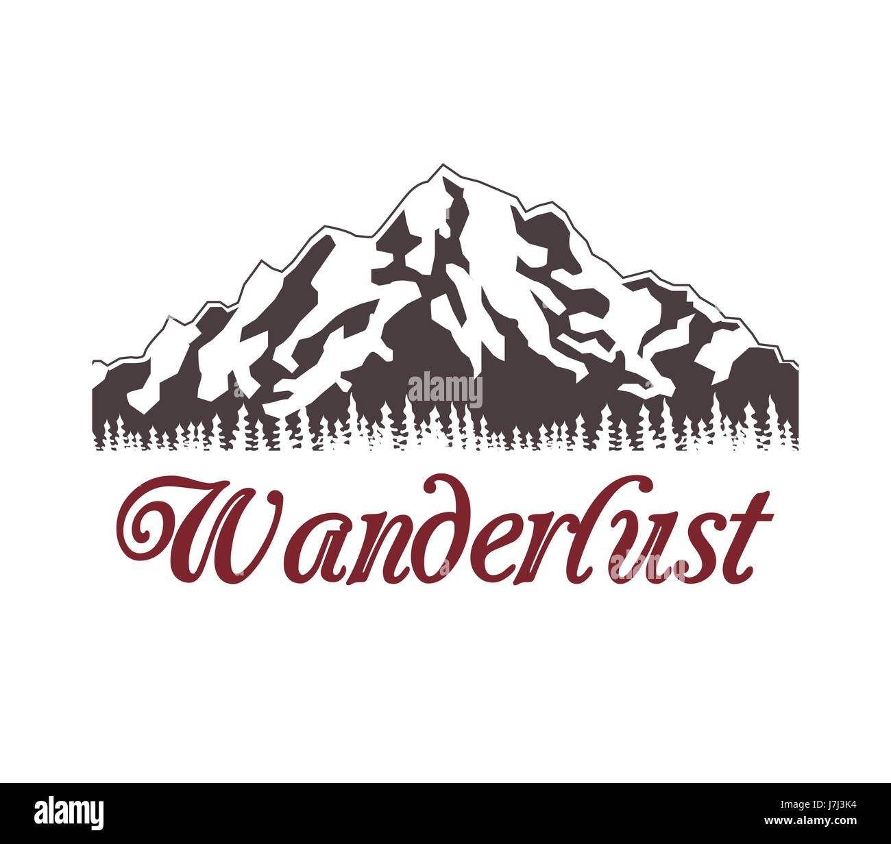 poster of snowy mountains with landscape forest wanderlust - Stock Image